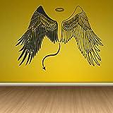 jiuyaomai Ángel Demonio Alas Malvadas Heaven Hell Paradise Etiqueta de La Pared de Vinilo Habitación Interior Decoración Mural Autoadhesiva Calcomanía marrón 75x42 cm