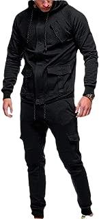 Mens Hooded Jacket Tracksuit Sport Suit Full Zipper Sweatshirt Top Pants Sets