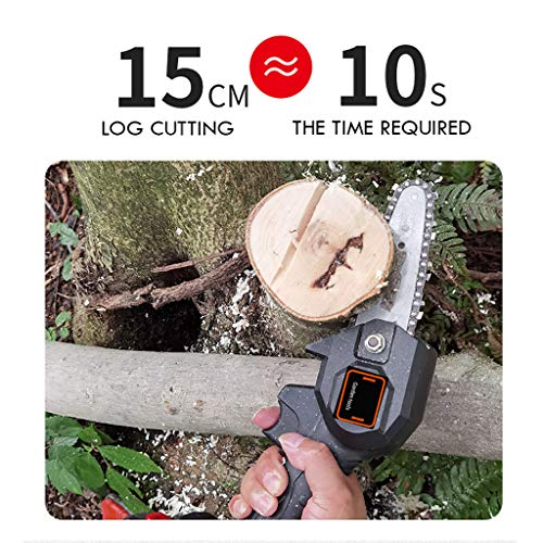intent_Side Mini Chainsaw 4-Inch 24V Cordless Electric Protable Chain Saw with Brushless Motor and Storage Bag One-Hand 0.7kg Lightweight for Pruning Shears Tree Branch Wood Cutting