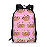 ELEQIN Lady Shopping Backpack Teen Girls Bookbag Children Scholbag Love and Sloth Pattern Printed
