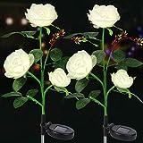 Solarlampen für Außen, 2 Stück Vegena Solar Gartenleuchte Rose Blume Gartenlampe Pfahllichter Straßenlaterne Wasserdicht IP65 Automatische EIN/Aus Solarleuchten für Außen Garten Balkon Gartendeko