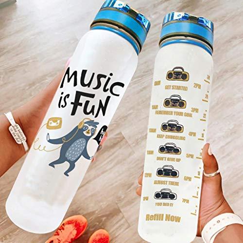 Ftcbrgifk Botella de agua deportiva de 1000 ml a prueba de fugas Botella de agua de plástico para yoga con marcador de tiempo motivacional blanco 1000 ml