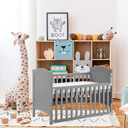 Solid Wood Baby Cot Bed Toddler Bed with Foam Mattress,Converts into a Junior Bed,Single-Handed Dropside Mechanism,3 Adjustable Position (Grey)