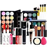 FantasyDay 25 Piece All-In-One Holiday Makeup Gift Set Makeup Bundle Essential Cosmetic Starter Beauty Kit Include Concealer, Lipstick, Lip gloss, Foundation, Eyebrow, Eyeshadow Palette, Travel Bag