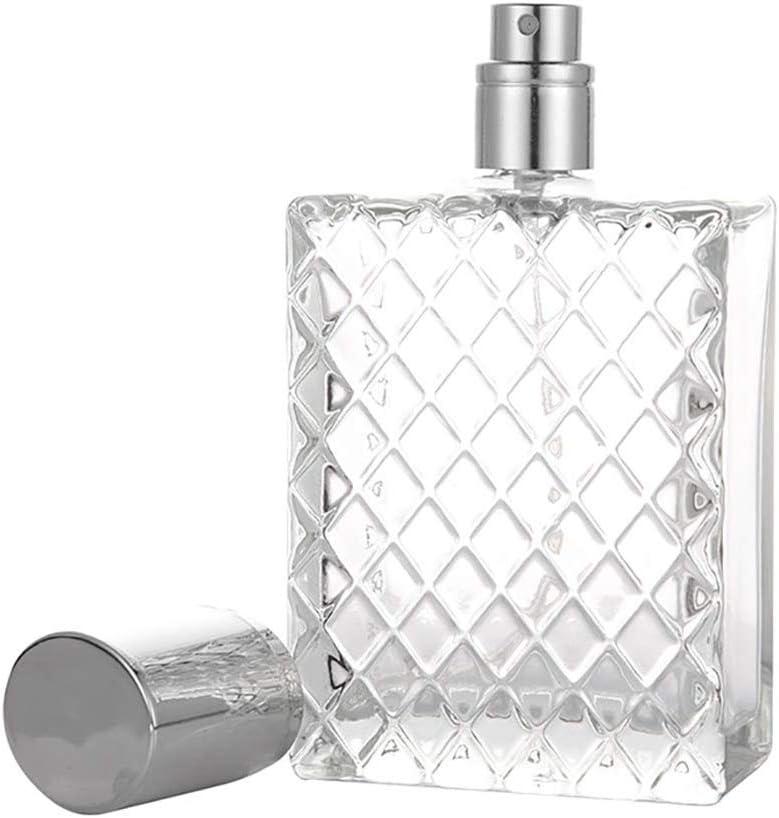 Leikance Botella de spray de vidrio, cuadrículas cuadradas, portátil, transparente, recargable, para perfume, de cristal, botella vacía, 100 ml
