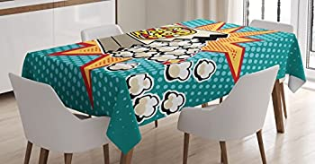 Ambesonne Movie Theater Tablecloth Halftone Background with Retro Style Colorful Popcorn Design Cinema Snacks Dining Room Kitchen Rectangular Table Cover 60  X 84  Multicolor