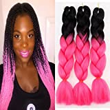 3Pcs/Lot Ombre Kanekalon Braiding Hair Extensions 24' 100g/pcs Synthetic Jumbo Hair Extensions(Black and Hot Pink)