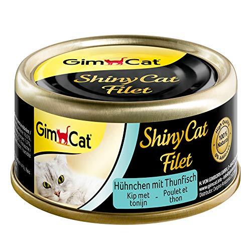 GimCat - Comida Húmeda para Gatos Adultos Shiny Cat Filetes Pollo Y Atún 70 Gr ✅