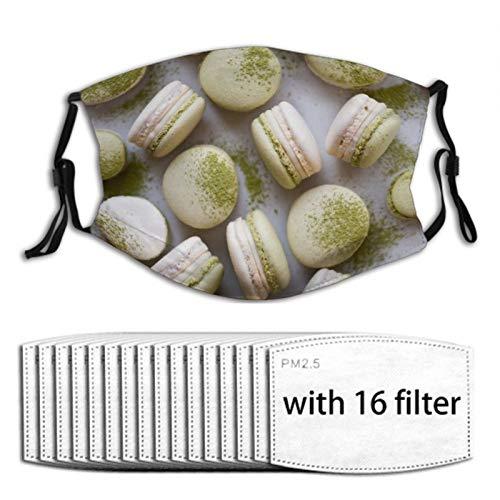 Nuberyl Matcha Macaron 1 Unisex Einstellbare Gesichtsmaske Bandana Sturmhaube Schal 16 Austauschbare Filter Staubschutz