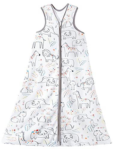 Chilsuessy Sommerschlafsack Baby Schlafsack Kleine Kinder Schlafanzug ohne Ärmel für Sommer und Frühling 100% Baumwolle, Glücklich Zoo, 110/Baby Höhe 110-125cm