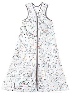 Chilsuessy Saco de dormir de verano para bebé, sin mangas, para verano y primavera, 100 % algodón, diseño de animales pintados, 110/bebé, altura 110 – 125 cm