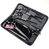 LILYS PET Professional PET Dog Grooming Coated Titanium Scissors Suit Cutting&Curved&Thinning Shears (7.0 inches, Black)