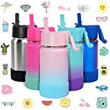 CHILLOUT LIFE 12 oz Insulated Water Bottle with Straw Lid for Kids + 20 Cute Waterproof Stickers -...