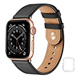 Leather Band Compatible with Apple Watch Bands 42mm 44mm, Genuine Soft Leather Replacement Wristband Strap for Men Women for iWatch SE Series 6 5 4 3 2 1(Black/Rose Gold,42MM 44MM)