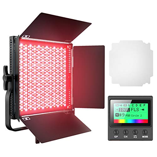 RGB Led Photography Lighting, Pixel Full Color Video Lighting Kit, 552PCS LED Beads 45W/CRI 97/2600K-10000K/9 Applicable Scenes, Led Video Light with U Bracket/Barn Door for Portrait, Video Shooting
