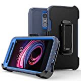 LG Phoenix 4 case/Aristo 3 /Aristo 3 Plus/Rebel 4 LTE/Rebel 3 LTE/Tribute Empire case,Heavy Duty Hard Shockproof Protector Shield Case Cover with Belt Clip and Kickstand(Navy Blue)