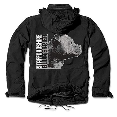 dog like a boss Männer und Herren Armee Winterjacke Staffordshire Bullterrier Profil Größe S - 7XL