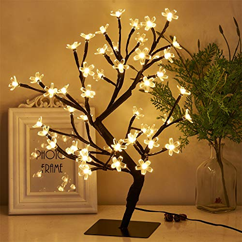 """PEIDUO 17.7"""" Lighted Cherry Blossom Tree 48 Warm White Lights Plug in Adapter Light up Bonsai Tree for Home Bedroom Wedding Office Tabletop Tree Indoor Night Light Artificial Plants"""