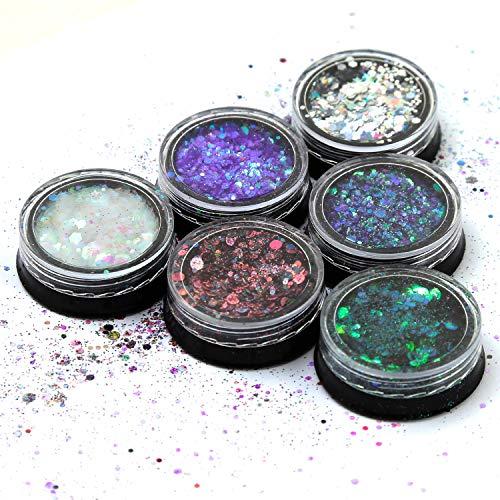 Canvalite Paillettes de Corps, Maquillage Paillettes Set pour Visage Cheveux Et Ongles Paillettes Décoration 6 Couleur 60ML