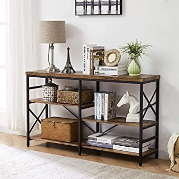 OIAHOMY Industrial Sofa Table,Console Table,3-Tier Industrial Rustic Hallway/Entryway Table,Easy Assembly,for Entryway Living Room  Rustic Brown