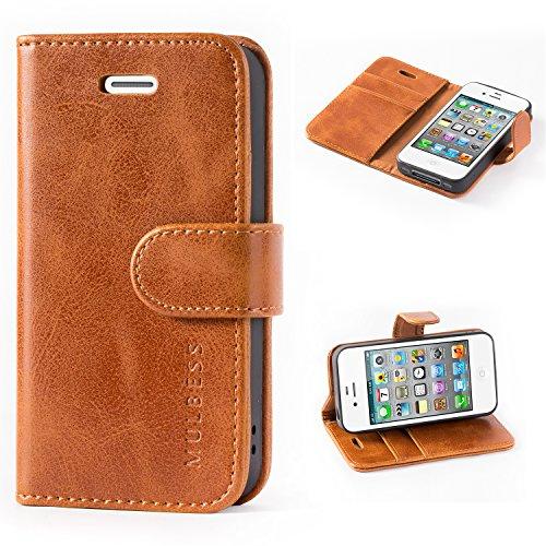 Mulbess Handyhülle für iPhone 4s Hülle Leder, iPhone 4s Handy Hüllen, Vintage Flip Handytasche Schutzhülle für iPhone 4 / 4s Case, Braun
