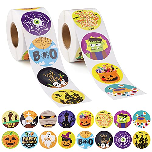 1000 Pcs Halloween Roll Stickers for Kids Teens, Lorvain Halloween Pumpkin Bats Spiders Witch Web Ghost Favor Roll Kid's Stickers Decals for Halloween Praty Decorations, Holiday Stickers