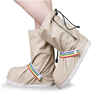 Silicone Rain Boots, Waterproof Rainy Day Non-Slip Thick Wear-Resistant Bottom High Tube Rain Boots SYLOZ (Color : Beige, Size : L)