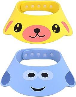 GZQES 2 pcs Gorro de Ducha para Bebés, Sombreros para Lavarse el Cabello para Bebe,Ajustable Gorro para Ducha del Baño