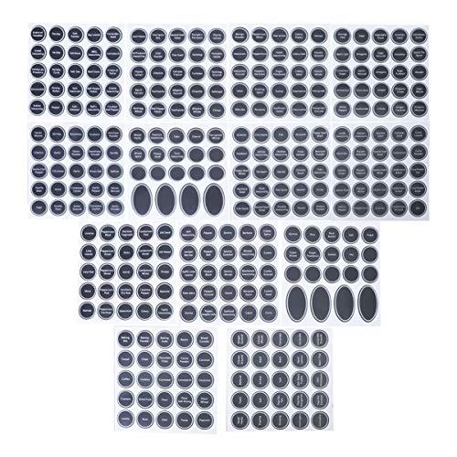 PIXNOR 13 Fogli Barattolo di Spezie Etichette di Bottiglia di Condimento di Etichette Etichette Jar Adesivi da Cucina Dispensa Etichette Adesive Rotonda Lavagna Etichette di Spezie
