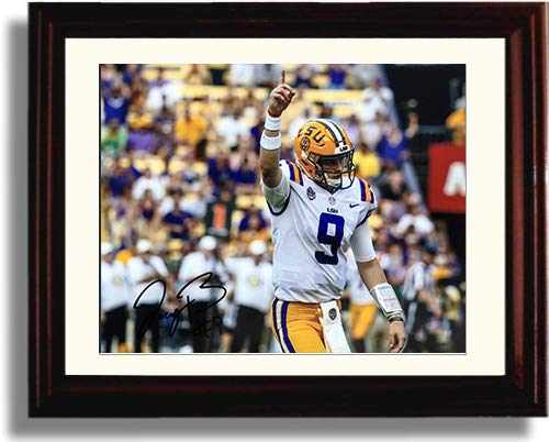 Framed LSU Tigers Joe Burrow -'TD Celebration' Autograph Replica Print
