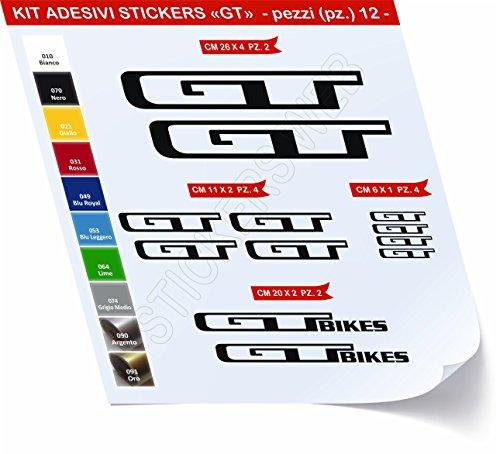 GT_Kit 1_ Kit d'autocollants pour vélo, 12 pièces, couleur au choix, référence 0428 (Noir code 070)