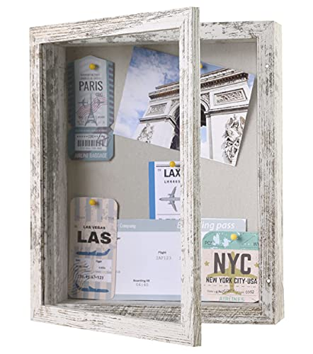 Califortree Rustic 8x10 Shadow Box Frame with Linen Back, Memory Display Case of Medals, Art, Photos...