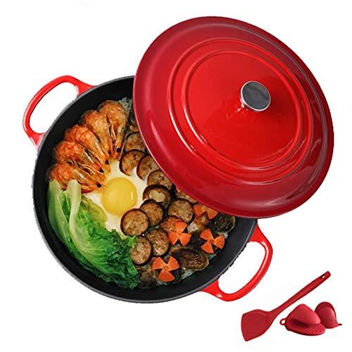 XBR Multifonction Rond en céramique émaillée Dutch Ovens Pot Ustensiles de Cuisine antiadhésifs en émail Crock Pot Casserole en Fonte pour la préparation de Plats à Cuisson Basse et Lente Rouge
