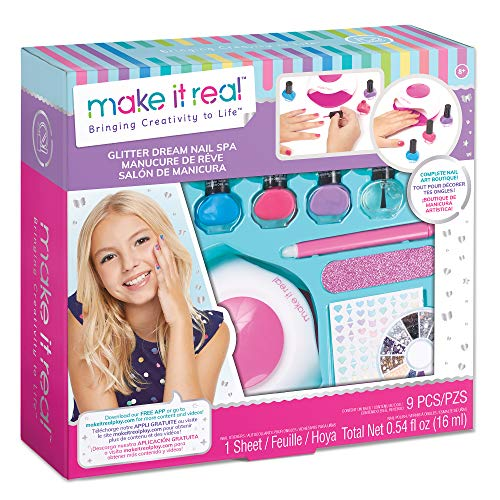 Make It Real – Glitter Dream Nail Spa - Nail Art Kit for Kids with Nail Polish, Nail Dryer, Stickers - DIY Manicure & Pedicure Set