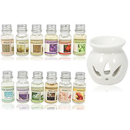 com-four® 13-teiliges Aroma Set mit Duft-Stövchen Duftlampe aus Keramik und 12 verschiedenen Duftölen