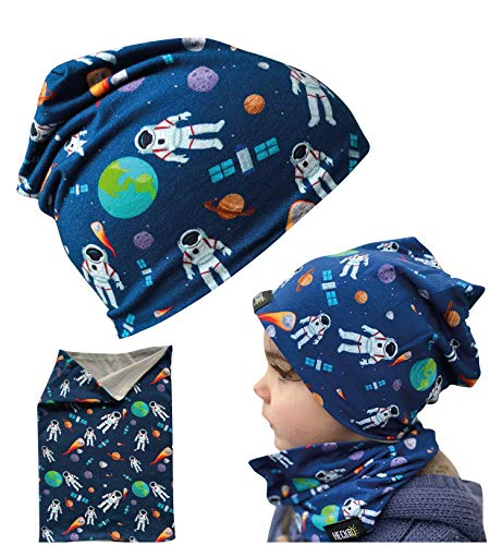 Juego de gorro y buff HECKBO® para niños, adecuado para primavera, verano, otoño, gorro reversible con astronautas del espacio exterior, 2 a 7 años, 95 % algodón, material elástico