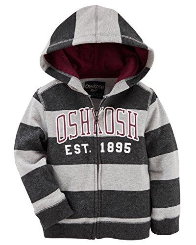 Osh Kosh Baby Boys' Full Zip Logo Hoodie, Grey Rugby, 24 Months