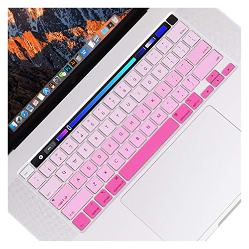 Waterproof Anti-Dust For MacBook Pro 16 inch with Touch Bar and Touch ID Model A1932,Protector Silicone Keyboard Cover Skin US Verstion protective case (Color : Gradient pink)