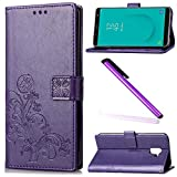 Samsung Galaxy J6 2018 Case Cover EMAXELER Embossing Colour Stylish Kickstand Credit Cards Slot Cash Pockets PU Leather Flip Wallet for Samsung J6 2018 Version Clover Purple