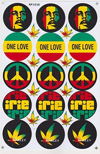 JAB Aufkleber Sticker Bob Marley One Love Peace irie Marihuana Jamaika Reggae Rasta 1 Bogen 26,5 x 17,5 cm