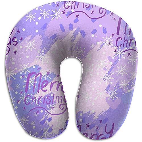 Kussen voor reizen, goede kerstvluchten, roze en paars, kussens in U-vorm, nekkussen van geheugenschuim, wasbaar, voor vliegtuig