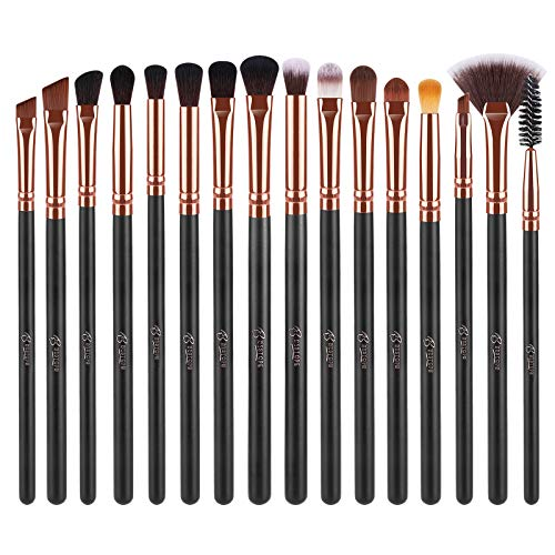 BESTOPE 16 Pcs Eye Makeup Brushes, Professtional Eyeshadow Brush Set with Soft Synthetic Hair & Premium Wooden Handle for Eyeshadow, Eyebrow, Fan, Eyelash, Blending (Rose Gold)