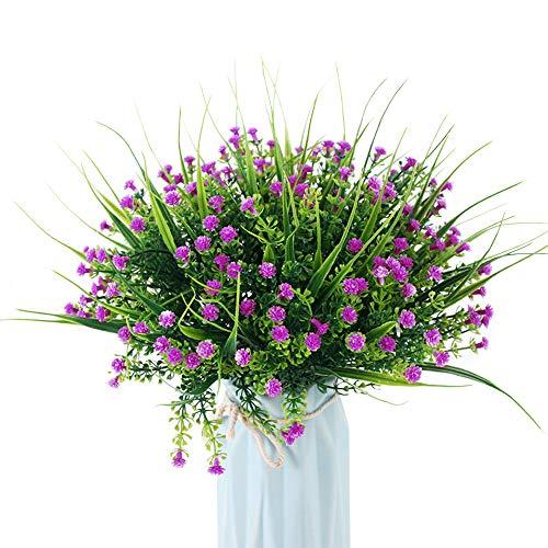 JaneYi 6 piezas Flores Artificiales de Plástico Gypsophila Ramo de Flores Artificiales Arbustos Arreglos Florales para Interior Intemperie Hogar Cocina Balcón Jardín Oficina Decoración - Morado