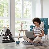 Relaxdays 10029924_940 Tente pour Chat, Tipi d'Animaux domestiques, Petits Chiens, Feutre, Bois, Coussin, 57 x 46 x 45 cm, Gris Clair, 1