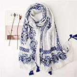 WEIJIQ Sciarpa da Donna Etnica Hijab Sciarpa Lunga Sciarpa Silenziata Bianca