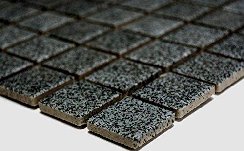 Mosaik Quadrat uni steingrau rutschhemmend R10B Keramik rutschsicher trittsicher anti slip rutschfest Duschtasse Boden Küche Bad WC, Mosaikstein Format: 2,5x2,5x6 mm, Bogengröße: 330x302 mm, 1 Bogen / Matte