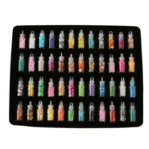 Power Ferhd Ensemble de 48 mini flacons de paillettes/poudre/perles/sequins pour nail art