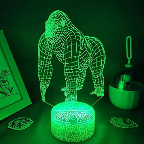 Lámpara de noche 3D para niños de Orangután, lámpara 3D LAVA LED de luz nocturna para niños dormitorio decoración de gorila juvenil juguete de Navidad regalo de cumpleaños escritorio lámpara de mesa