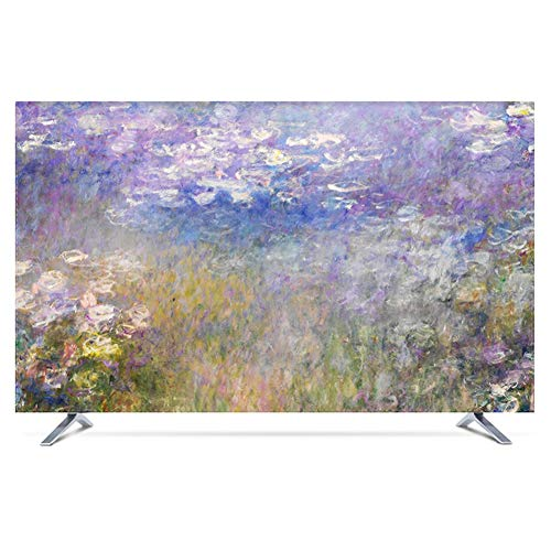 catch-L Interior Cubierta De TV Colgando Vertical TV LCD Cubierta De Tela Decorar (Color : Water Lily, Size : 43inch)