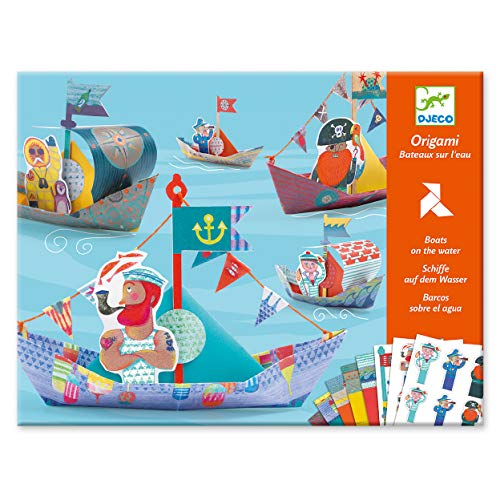 Djeco DJ08779 Kreativ Set Origami Floating Boats, Blau Grün
